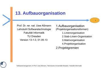 13-swm-aufbauorganis.. - Lehrstuhl Softwaretechnologie