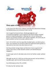 Once upon a time ……. - VfL Pfullingen
