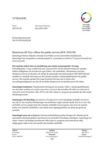 Läs Sametingets yttrande: (pdf) - Sveriges Radio