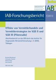 Effekte von Vermittlerhandeln und Vermittlerstrategien im SGB ... - IAB
