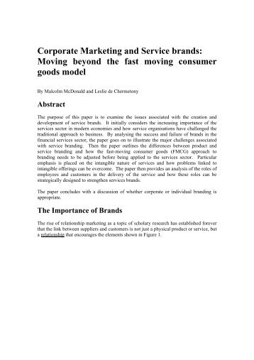 Corporate Marketing and Service brands: Moving beyond the fast ...
