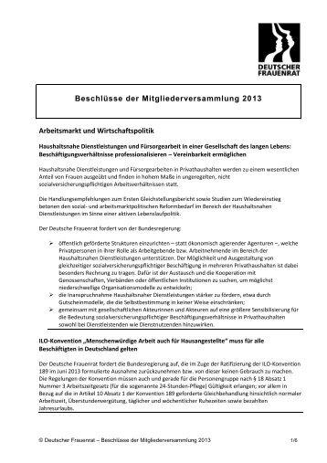 Beschlüsse der Mitgliederversammlung 2013 - Deutscher Frauenrat
