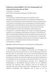 Etablierung systemgeschäftlicher Life Cycle ... - IBI - ETH Zürich