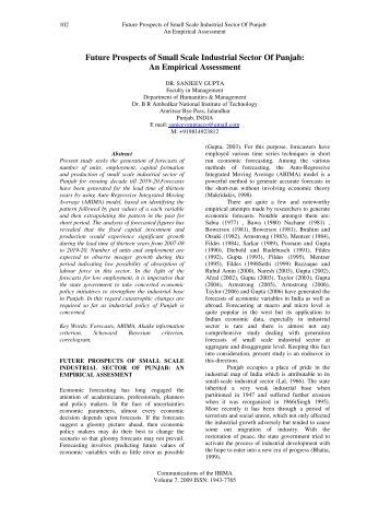 Future Prospects of Small Scale Industrial ... - RePEc plagiarism