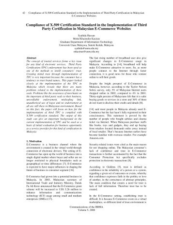 Compliance of X.509 Certification Standard in the ... - IBIMA Publishing