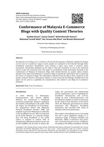 Conformance of Malaysia E-Commerce Blogs ... - IBIMA Publishing
