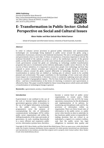 E- Transformation in Public Sector: Global ... - IBIMA Publishing