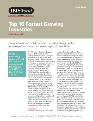 Top 10 Fastest Growing Industries - IBISWorld