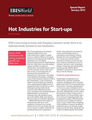 Hot Industries for Start-ups - IBISWorld