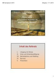"""""""Mens sana – präventive Aspekte im psychischen Bereich"""" Inhalt ..."""