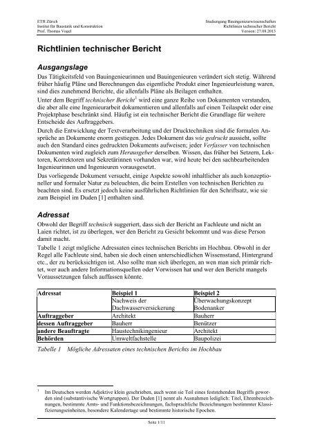 Richtlinien Technischer Bericht Institut Fur Baustatik Und