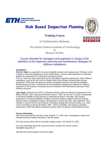 Course on Risk Based Inspection Planning