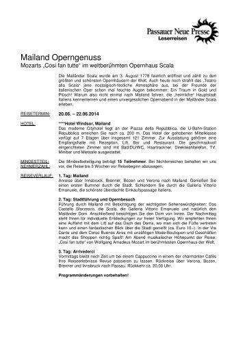 Mailand Operngenuss - Passauer Neue Presse
