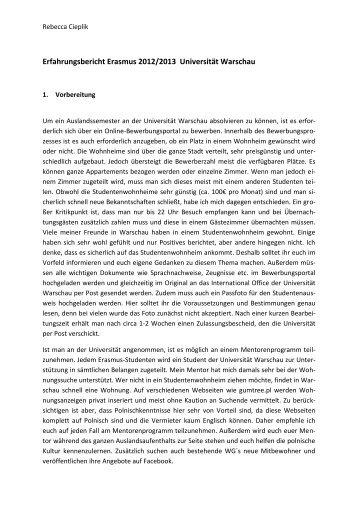 Erfahrungsbericht Erasmus 2012/2013 Universität Warschau