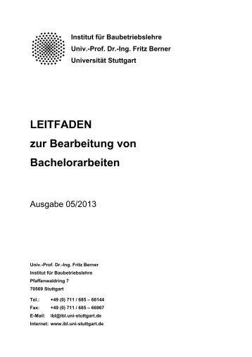 LEITFADEN zur Bearbeitung von Bachelorarbeiten - Institut für ...