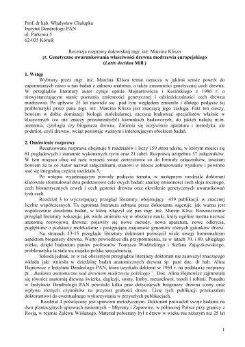 1 Prof. dr hab. Władysław Chałupka Instytut Dendrologii PAN ul ...