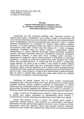 dr hab. Wojciech Grodzki, prof. nadzw. IBL - Instytut Badawczy ...