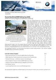 Deutschlandfinale BMW Sailing Cup 2009. Auftakt mit Charity ...