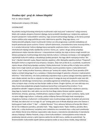 Uvodna riječ - prof. dr. Adnan Silajdžić - Ibn Sina
