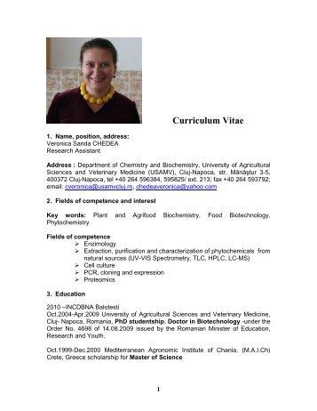 Curriculum Vitae First Name Nicoleta Aurelia Ibna