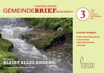 Gemeindebrief 3 Juni bis September 2013 - Evangelische ...