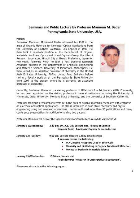 Seminars and Public Lecture by Professor Mamoun M  Bader