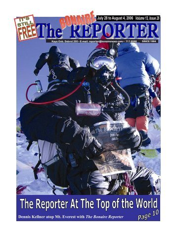 Dennis Kellner atop Mt. Everest with The Bonaire Reporter