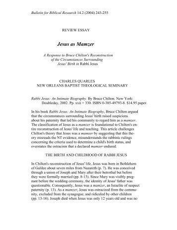 Jesus as Mamzer - Institute for Biblical Research