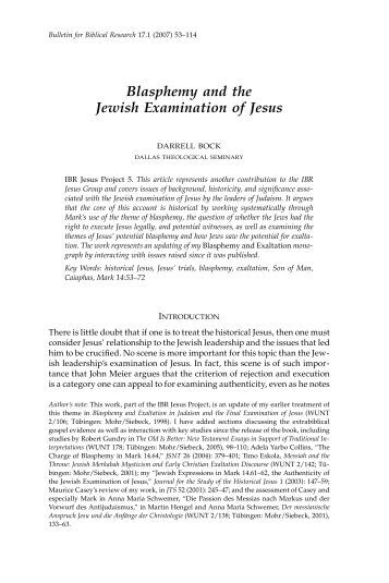 Blasphemy and the Jewish Examination of Jesus - Institute for ...