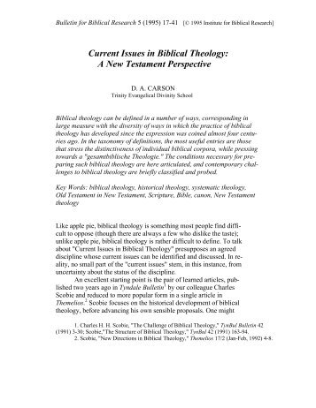 Current Issues in Biblical Theology: A New Perspective - Institute for ...