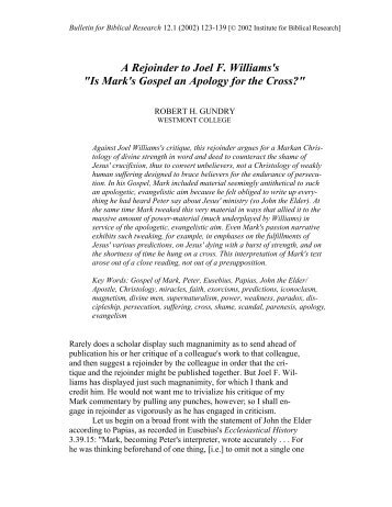 A Rejoinder to Joel F. Williams's - Institute for Biblical Research
