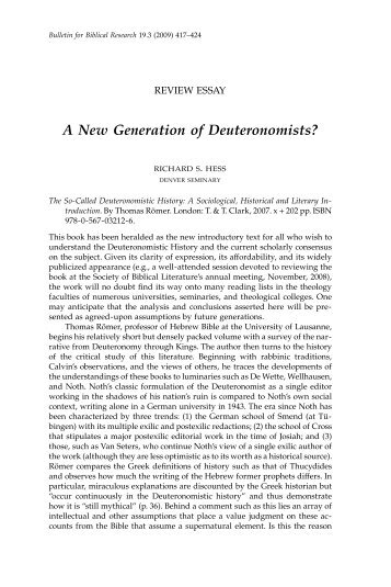 A New Generation of Deuteronomists? - Institute for Biblical Research