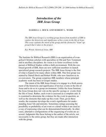 Introduction of the IBR Jesus Group - Institute for Biblical Research
