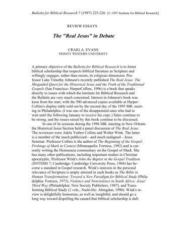 "The ""Real Jesus"" in Debate - Institute for Biblical Research"