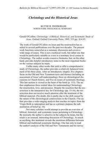 Christology and the Historical Jesus - Institute for Biblical Research