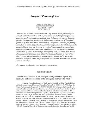 Josephus' Portrait of Asa - Institute for Biblical Research