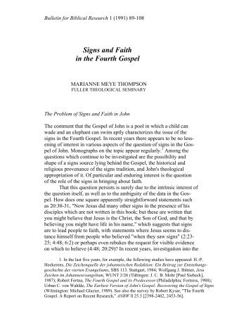 Signs and Faith in the Fourth Gospel - Institute for Biblical Research