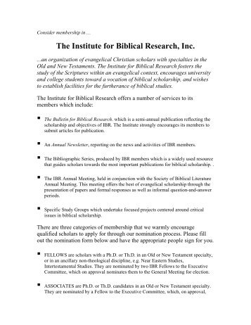 membership nomination form - Institute for Biblical Research