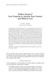 Finders Keepers? Lost Property in Ancient Near Eastern and Biblical ...