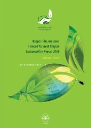 Rapport du jury pour l' Award for Best Belgian Sustainability ... - IBR
