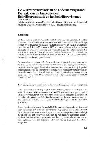 De vertrouwensrelatie in de ondernemingsraad: De taak van ... - IBR