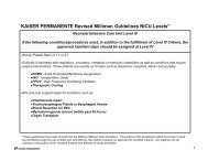 KAISER PERMANENTE Revised Milliman Guidelines NICU Levels*