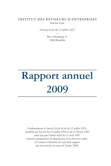 Rapport annuel 2009 - IBR