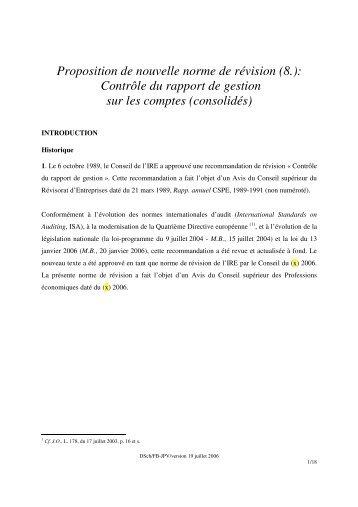 Proposition de nouvelle norme de révision_Controle du rapport - IBR