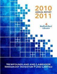 Newfoundland and Labrador Immigrant Investor Fund Limited