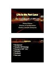 The Cost Benefit of ORT Lite Agenda