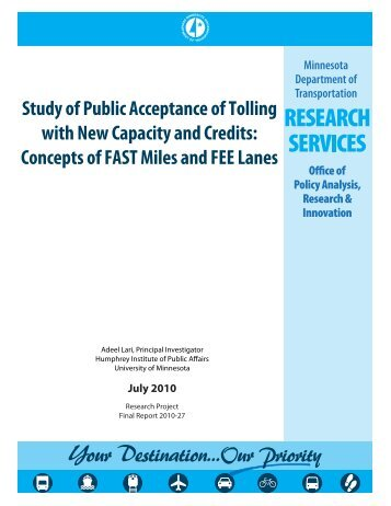 Study of Public Acceptance of Tolling Credits