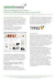 Content Management mit TYPO3 – einfache und ... - atlantis media