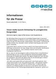 Votum media launcht Onlineshop für preisgekrönte ... - iBusiness
