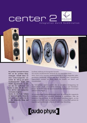 Celsius Center flyer german/english - Audio Physic